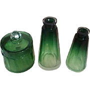 REDUCED 4-pc Emerald Green Vanity Set - Luxury Baccarat / Moser Karlsbad Rare & lovely Hand cu