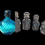 SALE NEW - Outstanding Antique Smoky Grey Embossed Molten Glass Vanity Dresser Set with ...