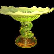 SALE Art Nouveau Uranium Green Pedestal Dish - Superb PORTIEUX VALLERYSTHAL 1905 Crystal ...