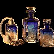 SALE Exceptional Perfume Bottle TRIO by MOSER Karlsbad - 6-pc Cobalt / Bristol Blue Intaglio .