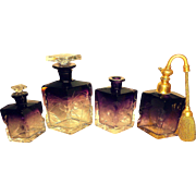 SALE Exceptional Amethyst QUARTET - MOSER Karlsbad 8-pc Intaglio Perfume Set  for Vanity & ...