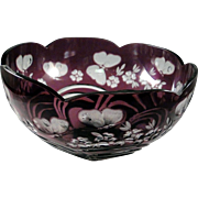 Purple cut to clear bowl by Design Guild, signed by Magda Nemeth, limited edition 1996