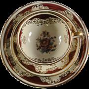 Bavaria dessert set, gold and burgundy floral