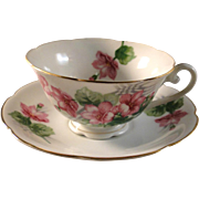 Cup and saucer set, Diamond made in occupied Japan, pink floral pattern, excellent estate ...