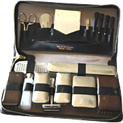 Vintage grooming travel kit, leather case, stamped Made in West Germany