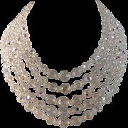 Vintage five strand aurora borealis crystal necklace in excellent condition