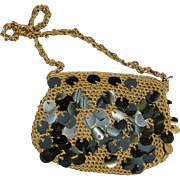 Vintage knit purse with gold reflective dangles and chain strap, excellent estate condition
