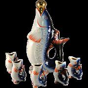 Cobalt blue Koi Japanese fish decanter and saki cup set excellent condition