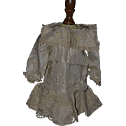 Beautiful Champagne-Color Silk Dropped Waist Dress for Bru, Jumeau, Steiner
