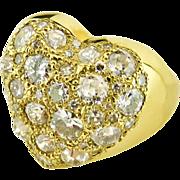 18 Karat Yellow Gold Heart Ring set with Diamonds