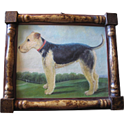 VINTAGE DOG PAINTING IN WONDERFUL 19TH C FRAME!