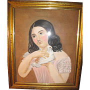 19TH C FOLK ART PASTEL OF GIRL HOLDING DOVE!