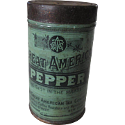LATE 19TH/EARLY 20TH c A&P PEPPER CAN, GREAT GRAPHICS!