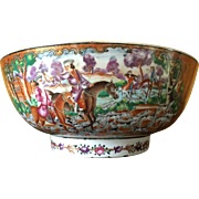 SALE 18th Century Chinese Export Porcelain Rose Mandarin Punch Bowl, Hunt Scene