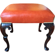 19th Century English Walnut  Stool with leather Cover  ca: 1850