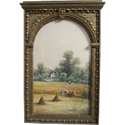SALE 19th Century Arched Wood Framed American Watercolor Pastoral Painting