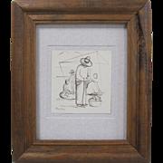 SALE Diego Rivera Original Indian Ink on Rice Paper Men at Market Drawing