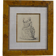 Victorian Dress Woman with Mirror Original Pen and Ink Listed California Ida Bailey Jessup