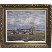 SALE Karel Schauer Vintage Czech Countryside Oil Painting Ornate Period Frame