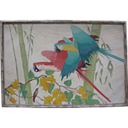 SALE 1920s Art Deco Original Macaw Oil Painting Attributed to Stark Davis LARGE