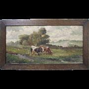Vitolla Vintage Italian 19th-20th Century Original Bucolic Pastoral Oil on Canvas Painting