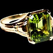 Dazzling & Magnificent 3.51 Carat Vintage Emerald Cut Peridot Gemstone Ring in 10 Karat Yellow