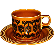 Vintage Hornsea Heirloom Pottery, England, Autumn Brown Cup and Saucer