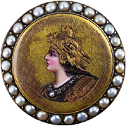 Rare Victorian Minerva Portrait Pin Antique Rose Cut Diamond Pearl 14 Karat Gold