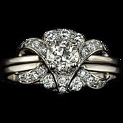 1.30cttw Vintage Excellent Cut Old European Diamond Engagement Ring Split Shank Retro Cocktail