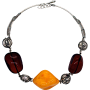 REDUCED Sterling Silver and Amber Bead Necklace