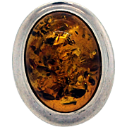 REDUCED Vintage Amber and Sterling Silver Ring