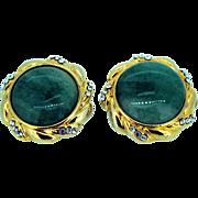 Vintage Aventurine and Rhinestone Earrings