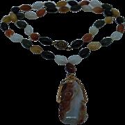 Vintage Multi-color Jade Bead Pendant Necklace