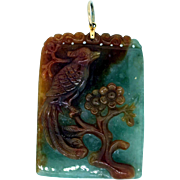 REDUCED Carved Jade Pheasant Pendant