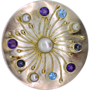 Sterling silver and 22K gold convertible pendant/Brooch with pearl, Amethyst, Topaz and ...