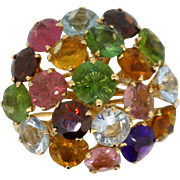 REDUCED 18k yellow gold Ring with Garnet, Amethyst, Peridot, Tourmaline and Citrine