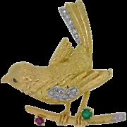 REDUCED Fasano of Torino 18k yellow gold Bird Brooch with Diamonds, Ruby, Emerald