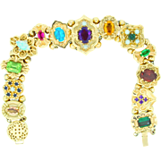 Victorian Style Retro Slide Bracelet in 14K gold and gemstones