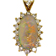 Vintage Opal and Diamond Pendant with Halo Design in 14K gold