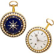 Matching Pair 18K Enameled Diamond Pearl Fusee Watches in Box