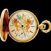 Victorian Cherub Dial Gold Case Jules Mathey Pocket Watch CA1880