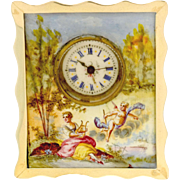 Sterling-Silver & Enamel Miniature Easel Pocket Watch Desk Clock