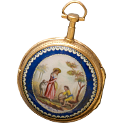 Gilt Verge Fusee Enamel Pocket Watch with Fancy Hand Painted Dial & Key