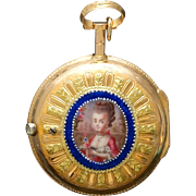 18K Gold Enamel by Le Pine of Paris Verge Pocket Watch