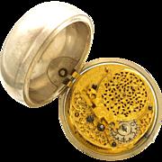 Early CA1690 Verge Fusee Pair Case Pocket Watch