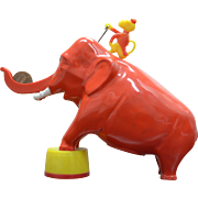 1950's Hard Plastic Mechanical Elephant Bank with Monkey Rider