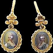 Vintage 14k Yellow Gold Painted Portrait Miniature Cameo Dangle Drop Earrings