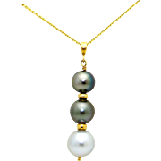 14k Yellow Gold Black Gray Tahitian South Sea Cultured Pearl Pendant Necklace