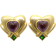 Estate Vintage 18k Yellow Gold 7ct Cabochon Amethyst and Tsavorite Garnet Heart Stud Earrings