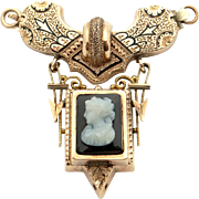 Victorian 14k Yellow Gold Carved Stone Cameo Onyx Brooch Pin Center Piece Clasp